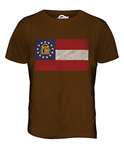 CandyMix Bundesstaat Georgia Kritzelte Flagge Herren T Shirt Braun