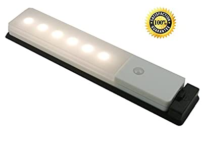 Motion Sensor Light for Wardrobe - JEBSENS T03W Stick-on Anywhere Closet Light Rechargeable for Cabinet, Cupboard, Stair, Hallway with Free USB Cable, 3M Adhesive, Base Plate and Screws Included-Cool White