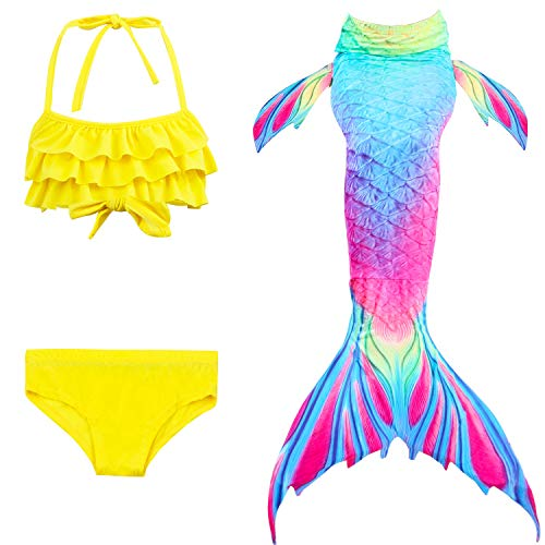 Le SSara 2018 Nuevo Sea-Criada Cosplay Swimwear Mermaid Shell Swimsuit 3pcs Bikini Sets (150, DH52+WJF47)