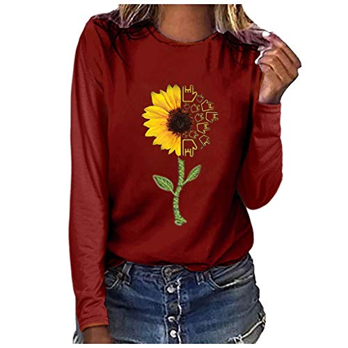 Kostüm Cat Huhn - Lazzboy Damenmode Plus Size Print Rundhals Langarm T-Shirt Bluse Tops Damen T Shirt Kurzarm Tshirt Sommer Casual(Wein,2XL)