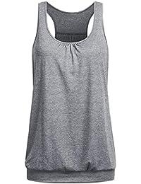 a7f773306af813 Dragon868 Damen Bluse Armellos Rundhalsausschnitt Wrinkled Loose Fit  Racerback Workout Tank Top Shirt Sommer