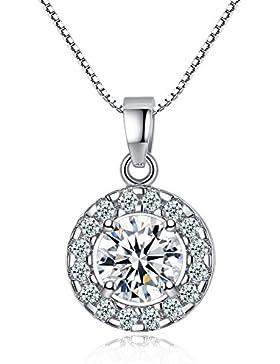 Kette Damen Runder Knopf Liebe 925 Sterling Silber Halskette Anhänger Set 5A Zirkonia mit 45cm Kastenkette Geschenk...
