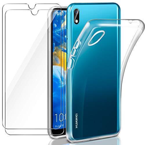 comprare on line 5256c a4e3d Leathlux Cover Huawei Y5 2019 Custodia Trasparente + 2 × Pellicola Vetro  Temperato Y5 2019 Huawei, Morbido Silicone Custodie Protettivo TPU Gel ...