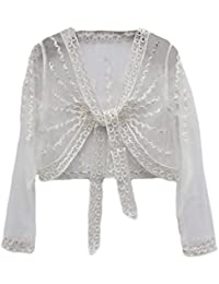 Cardigan Donna Estivo Elegante Manica Lunga Trasparente Pizzo Sottile Stola  da Cerimonia Ragazza Abbigliamento Fashionable Coprispalle 1396164a427