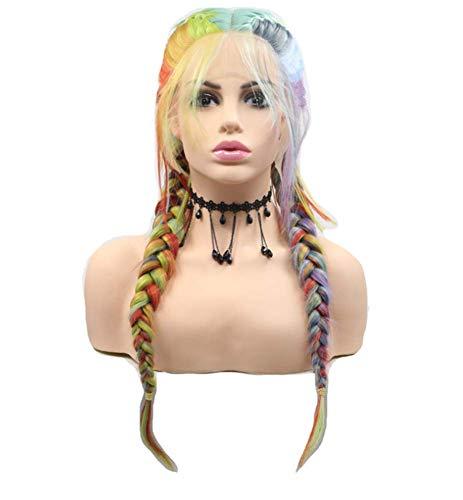 Regenbogenfarbene Zöpfe Fisch Knochen Zöpfe drei Stränge von Zöpfen Perücke Kopfbedeckung lange lockige Haare (Halloween-kostüme Entsprechende Lustige)