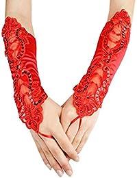Unbekannt 1 Paar Braut Fingerlose Handschuhe Elegant Spitze Gestickt Handschuhe Damen Mädchen Abschlussball Fest Bankett Abendgesellschaft Hochzeit Zubehör von SamGreatWorld