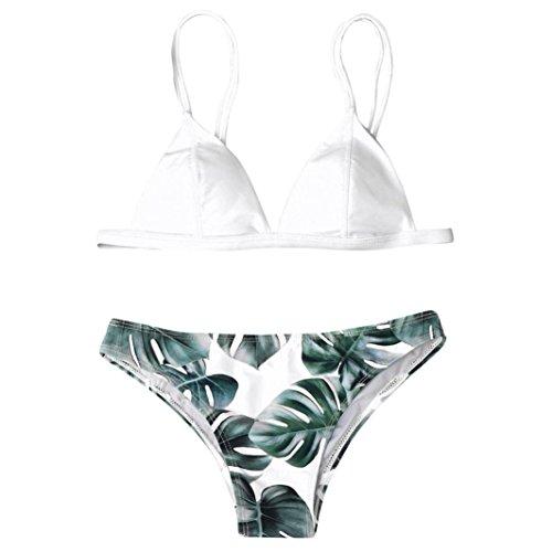 OVERDOSE Frauen Bademode Bikini Set Print Blätter Push-Up Bikinis Gepolsterte Bade Badeanzug Beachwear(White,S
