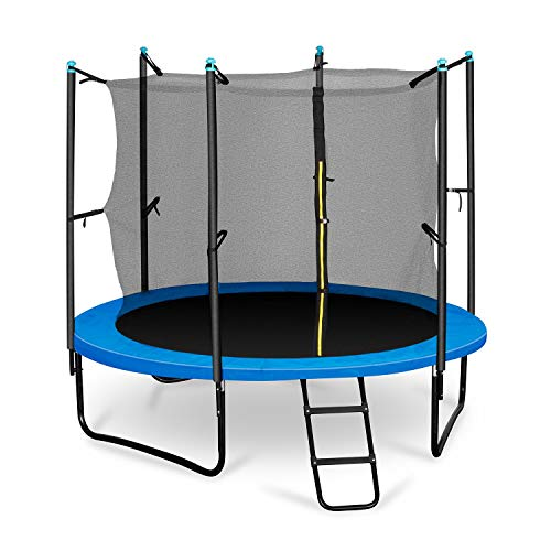 Klarfit Rocketboy 250 Gartentrampolin Kinder Trampolin mit Netz (2,5m Durchmesser, inkl. Leiter und Sicherheitsnetz, gepolsterten Stangen breite Leiter, bis max. 150kg) blau
