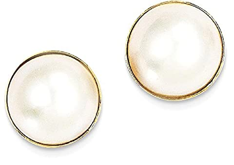 IceCarats 14k Yellow Gold 10mm Cultured Mabe Pearl Post Stud Ball Button Earrings