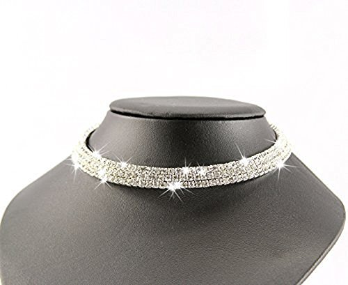 Qurved Silver Crystal Rhinestone Choker Necklace For Women