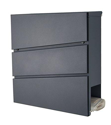 Designer Briefkasten anthrazit-grau RAL7016 mit Zeitungsfach, Zeitungsrolle Wandbriefkasten/Mailbox / Postkasten Mod.333 (anthrazit RAL7016)