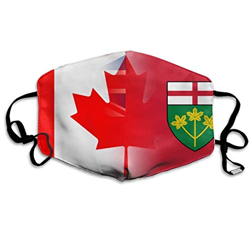 HUSDFS Mouth Maske Flag of Ontario Canada Art Anti-dust Mouth Mask Face Masks Mouth Cover for Man and Woman