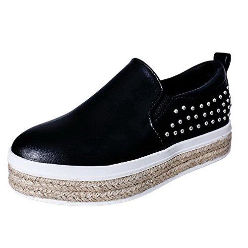 AgooLar Femme Tire Rond à Talon Bas Pu Cuir Couleur Unie Chaussures Légeres Noir
