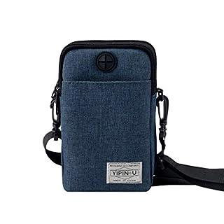ACMEDE 2 Layers Storage Zipper Waterproof Oxford cloth Crossbody Wrist Shoulder Bag Mini Phone Pouch Handbag Armband Case for iPhone, Samsung, Huawei, 11 * 5 * 18cm