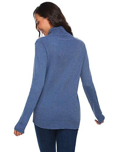 Meaneor Damen Herbst Winter Warm Strickpullover Sweater Hoher Kragen Pullover Strickpulli mit schräger Zier-Knopfleiste Blau