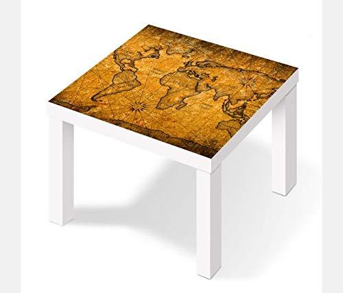 Möbelaufkleber für Ikea Lack Tisch 55x55cm Karte Welt Weltkarte braun antike Landkarte Afrika map...