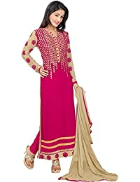 Dharmnandan Fashion Pink Gorgette& Crap Dress material