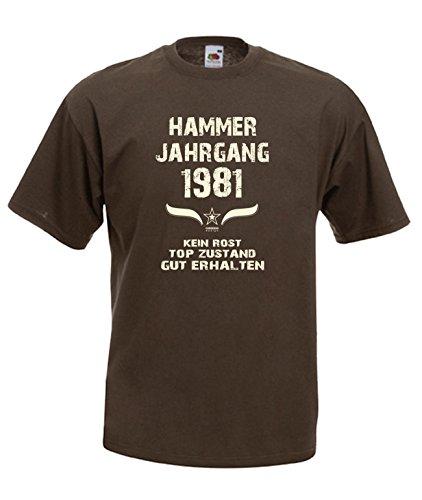 Sprüche Fun T-Shirt Jubiläums-Geschenk zum 36. Geburtstag Hammer Jahrgang 1981 Farbe: schwarz blau rot grün braun auch in Übergrößen 3XL, 4XL, 5XL braun-01