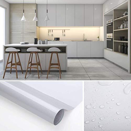 KINLO Adesivi da Cucina per mobili 0.6M*5M(1 Rotolo) Grigio Nessuna Colla  PVC Impermeabile Adesivi mobili rinnovato mobili da Cucina Autoadesivo Wall  ...