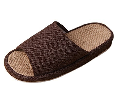 bronze-times-tm-premium-summer-tatami-non-slip-cotton-flax-house-slippers-coffee