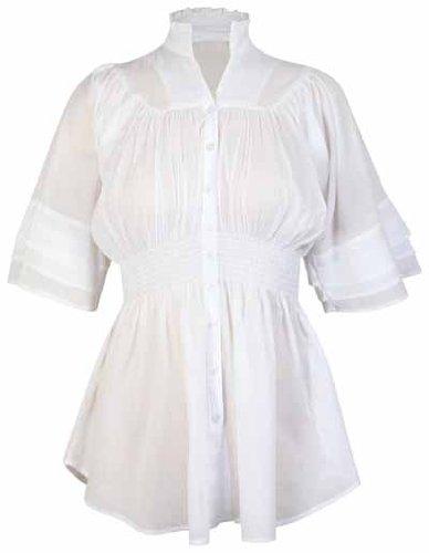 Damen Top Kimono Stil 3/4 Fledermaus Ärmel Elastische Taille Knopf Übergröße Ausgestellter Kragen Weiß