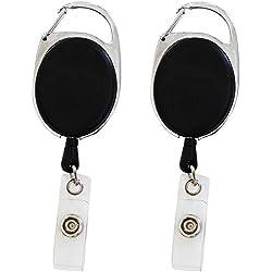 Lot de 2 Portes badge enrouleur noir mousqueton rétractable avec clip attache ceinture - Avec yoyo et cordon de 62cm (2)