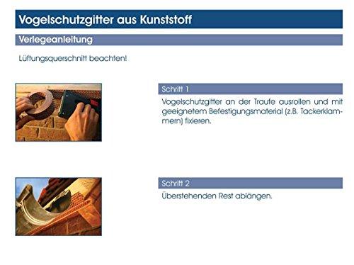Vogelschutzgitter Traufgitter Lüftungsband 5 m lang 50 mm hoch Material PP