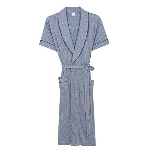 Bademäntel Sommer Männer Schlaf Robe Reiner Baumwolle Kurzarm Dünnschliff Große Größe Lange Abschnitt Home Kleidung Pyjamas GAODUZI (Farbe : B, größe : XL)