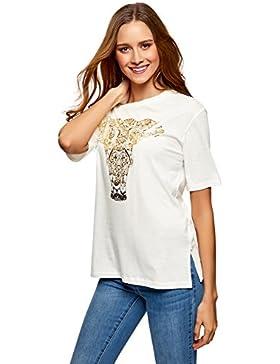 oodji Ultra Mujer Camiseta Holgada con Estampado Sin Etiqueta