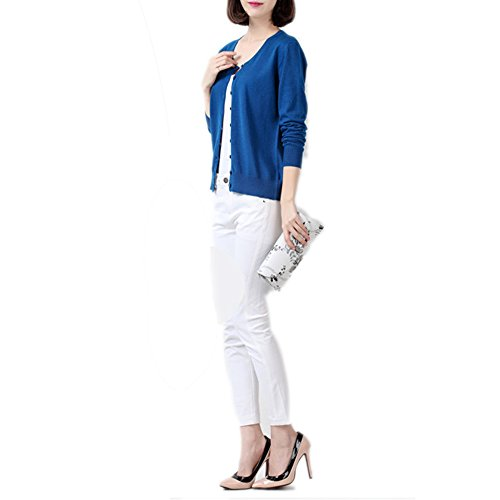 HIDOUYAL -  Cardigan  - Basic - Maniche lunghe  - Donna Dunkel Blau