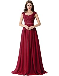 Damen Elegant Spitze Brautjungfernkleid A-Linie Chiffon Abendkleid in 8 Farben Maxilang 32-46