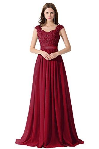 Damen Elegant Ämellos Chiffon Hochzeitskleid mit Spietze Lang Weinrot 44