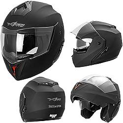 A-PRO SRL Casque Intégral Double Visière ECE 2205 Moto Scooter Noir Mat M