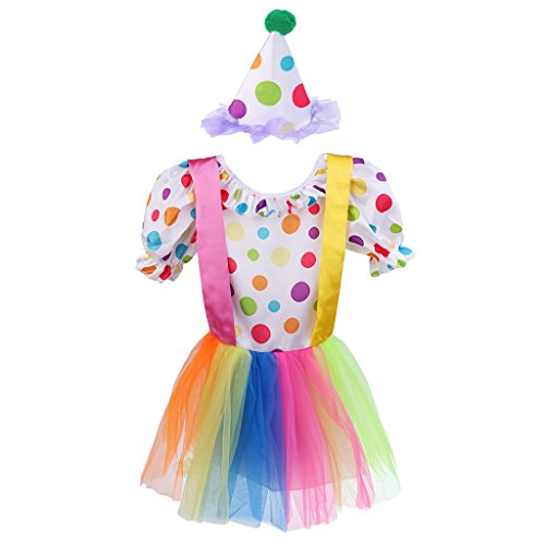 Blesiya Lustige Polka Dot Mädchen Clown Kostüm Zirkus Outfit Tutu Kleid mit Hut Kostüm Set - M