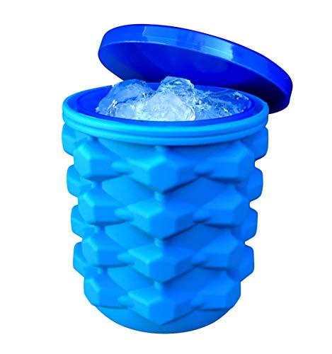 Der ultimative Eiswürfelbereiter aus Silikon mit Deckel macht kleine Nugget Ice Chips für Softdrinks, Cocktail, Eis, Wein auf Eis, Crushed Ice Maker Eimer Eiswürfelform Eiswürfelform Zylinder Ice blau