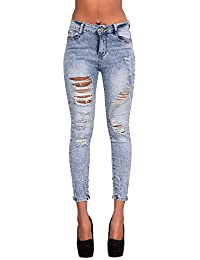 Pour Femme Bleu Clair Taille Haute Délavé Jeans Moulant Tailles 34 8 10 12 14