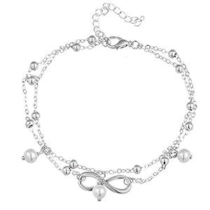 Bobury Fußkettchen Fuß Armband Kette Infinite Symbol Glänzende Perle Barfuß Kette Mode Accessoires Für Frauen