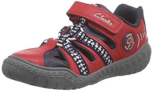 Clarks Kids Stomp Ride Inf, Baskets Basses garçon Rouge (Red Combi)