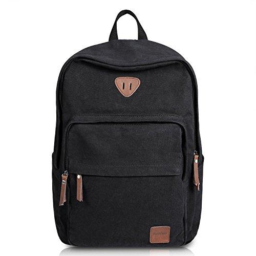 ibagbar Rucksack Laptop Rucksack für 15.6″ Notebook Lässiger Daypacks Schüler Backpacks Schultaschen of 2 Side Pockets für Wandern Reisen Camping (Schwarz)