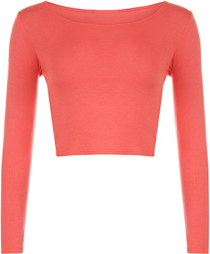 WearAll - Neu Damen Cropped Langarm T Shirt Kurz Schmucklos Rundhalsausschnitt Top - Koralle - 36 / 38
