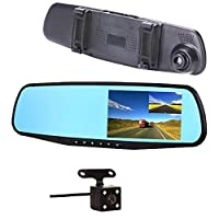Car Camera Dual Lens Upgraded 4.3 inch Car DVR Front And Rearview Mirror Video Recroder 170 Degree Wide Angle Lens with Waterproof Night Vision Rear Cam ST