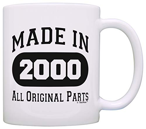 18th Birthday Gifts for Brother Made 2000 All Original Parts Funny 18th Birthday Party Supplies Gift Coffee Mug Tea Cup White