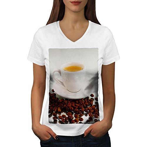 wellcoda Kaffee Espresso Bohne Essen Frau L V-Ausschnitt T-Shirt