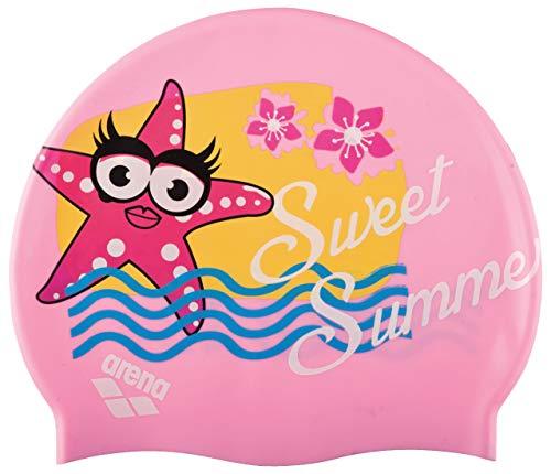 arena Kinder Unisex Badekappe AWT Multi (Verstärkter Rand, Weniger Verrutschen der Kappe, Weich), Pink (24), One Size