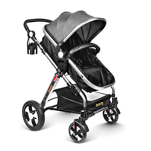 besrey Carrito Bebe Silla de Paseo Cochecito para Bebé Carriage Gris Aprobado prueba de seguridad EN1888: 2012