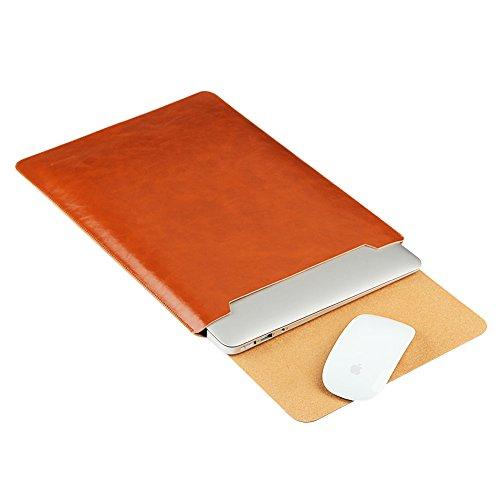 GENORTH® Wasserdicht Mikrofaser PU Leder Laptop Hülle für MacBook Air & Macbook Pro 13,3 Zoll, MacBook Schutzhülle, Hülle, Case, Cover, tasche ,MacBook Pro Retina 13 Zoll Hülle mit Handgriff, geschütztes Inneres und externes Mousepad(13 Zoll, Braun)