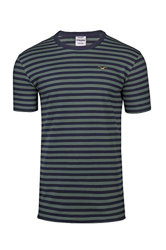 Cleptomanicx T-Shirt Classic Stripe Bottle Green XL