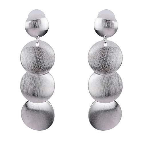 Yolande 2 tonalità di orecchini, placca piccola con superficie strutturale, oro 14k (placcato in oro) e argento sterling 925, orecchini pendenti,silver