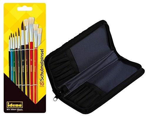 Idena 626052 Schulmalpinsel (Schulmalpinsel, 10er Set + Pinseltasche) -