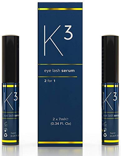 VBNK Wimpernserum K3 Vorteilspack (2x) - für schwungvolle Wimpern - dynamischer Augenaufschlag ohne Hormone, 14ml